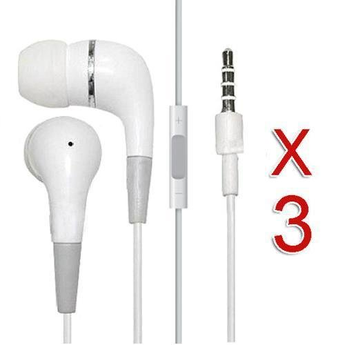 3 Pack Premium White Stereo Headset Headphone Earphone w/Mic & Remote Volume Control for Apple iPod iPhone 4 4G 4S 3G 3GS