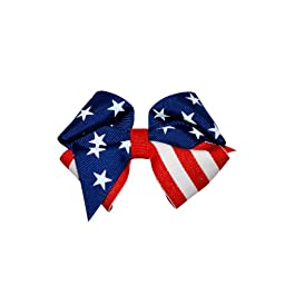 Squishy Pet Products Sprinkles Collar Accessories, Little Glory, 3-Inch, American Flag Bow