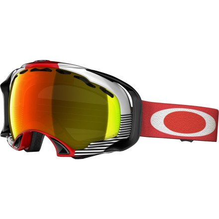 Oakley Splice Shaun White Signature Series Snow Goggle, Red Block Stripes with Fire Polar Lens