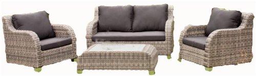 Luxus Garten Lounge Set – Tisch – 2 Sessel – Sofa – inkl. Auflagen, Poly-Rattan – mocca-sand jetzt bestellen