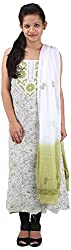 RV's Collection Women's Cotton Unstitched Salwar Suit Piece (White And Mehndi Green , RB-16)