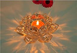 Wed2BB 5 inches Crystal Lotus Candle Holder Votive Holders