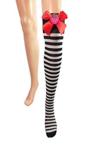 Punk Rock Emo Black & White Striped with Red Bow Thigh High Socks Stockings