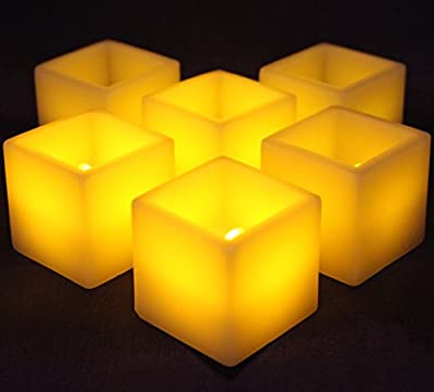 "LED Lytes Flameless Candles, SQUARE Votive Set of 6 - 2""x 2"", Ivory Colored Wax and Amber Yellow Flame for Holidays, Weddings and Parties"