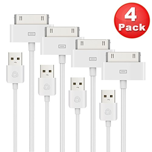 ESK 4 Pack Certified 30 Pin to USB Sync and Charging Cable for iPhone iPad and iPod (6 Feet / 2 Meters) (30 Pin Coiled compare prices)