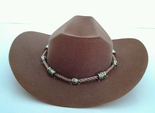 BROWN WESTERN COWGIRL HAT WITH BEADED ROPE DESIGN FOR AMERICAN GIRL DOLLS 18 INCH DOLLS - 1