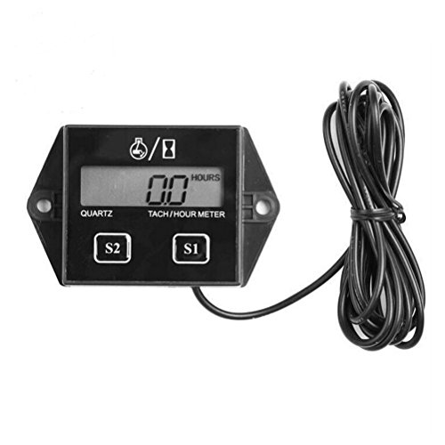 Tinksky Portable LCD Display Spark Plugs Engine Digital Tach Hour Meter Tachometer Gauge for Motorcycle ATV Boat Generator (Black)
