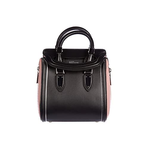 Alexander Mcqueen women's leather handbag shopping bag purse vintage bicolor mini black