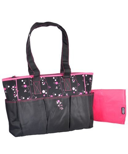 "Graco ""Priscilla"" Diaper Tote Bag - black/pink, one size by Graco (English Manual)"