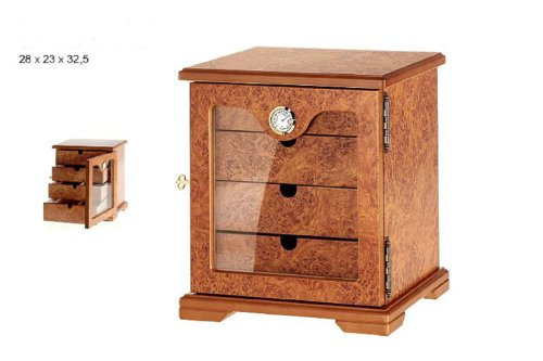 Humidor cabinet hold 60 cigars hygrometer readable from the outside