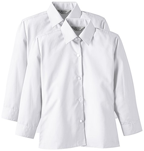 TRUTEX Girl's 2PK Non Iron Long Sleeve Blouse, White, 36 inches