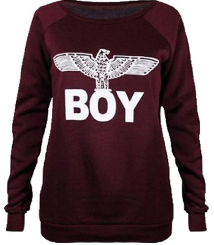 Cima Mode Women'S Boy London Print Jumper Sweatshirt Deluxe Soft Chic 6/8 Wine