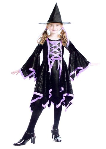 Child Girls Dazzling Witch Dress Up Costume