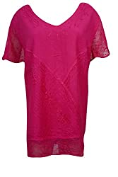 Indiatrendzs Women's Embroidered Rayon Short Sleeves Pink Top/Blouse Chest: 60