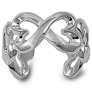9mm NEW Italian Sterling Silver Polished Infinity Twin Hearts Knot Ring Ring Size 5-10 Celtic Valentines Day Ring (.925 Sterling Silver, 6)