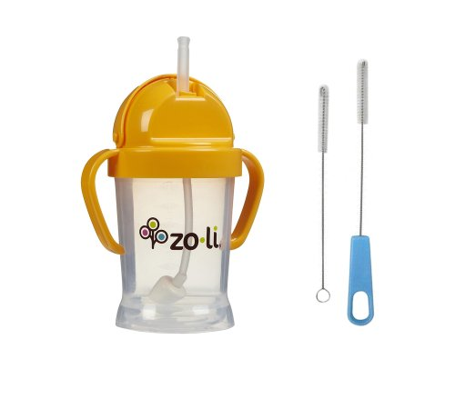 Zoli Bot Straw Sippy Cup with Sippy Cup Cleaner - Orange - 1