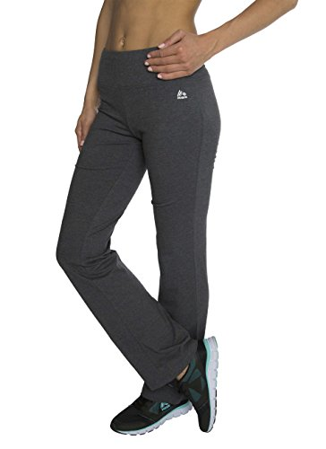RBX Active womens Traditional Cotton Boot Cut Yoga Pant,Charcoal,Large