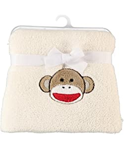 "Baby Starters ""Sock Monkey"" Plush Blanket - ivory, one size"