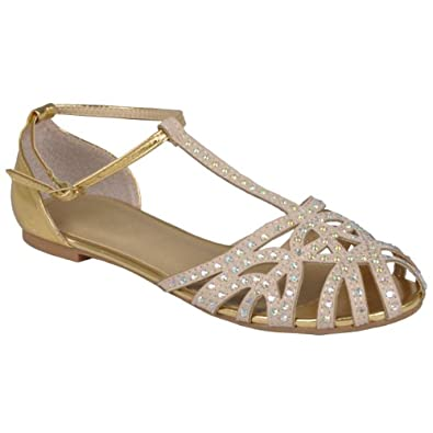 Amazon.com: Brinley Co Womens Bejeweled T-strap Flats