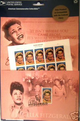Ella Fitzgerald Cultural Diary Page W/ 39 C stamps MINT