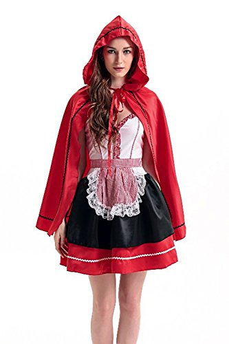 Hisionlee Sexy Red Riding Hood Costume Hood Castle Queen Halloween Cosplay Clothes