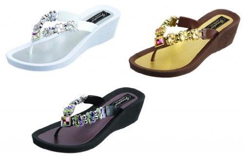 Beaded Wedge Sandals