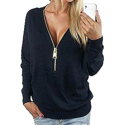 Sweatshirt Women V-Neck Zip Up Long Sleeve T-Shirt Tops Blouse Jumper Pullover