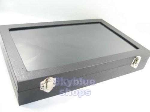 Glass Top Black Velvet Jewelry Display Box for Necklace Bracelet, 17 Clips, 30x20cm