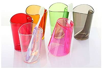happyliya® Dual purpose bathroom tumbler colorful ergonomic design clear plastic Cup(Pink)