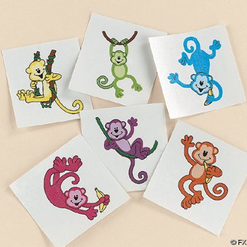 Neon Monkey Tattoos (6 dz)