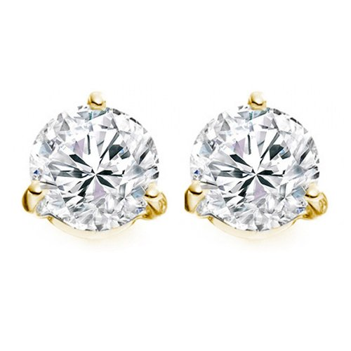 0.60 Carat E/VS1 Round Brilliant Certified Diamond Solitaire Stud Earrings in 18k Yellow Gold