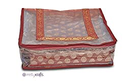 PrettyKrafts Ethnic Sari Cover - Saree Bag - Wardrobe Organizer - Red
