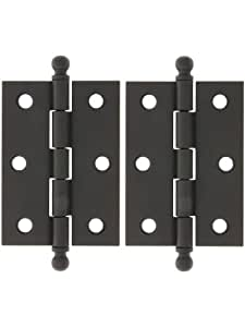 """Pair Of Loose Pin Plated Steel Cabinet Hinges - 2 7/16"""" X 1 3/4"""" In Oil-Rubbed Bronze. Cabinet Hinges."""