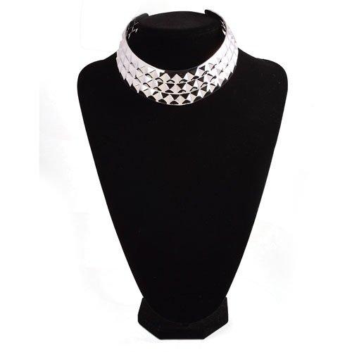 High Shine Metallic Texture Wide Puck Design Choker Collar Mottle Bib Collar Necklace, Silver