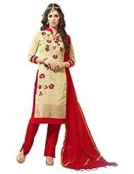 Surat Tex Cream Color Embroidered Bhagalpuri Silk Un-Stitched Dress Material