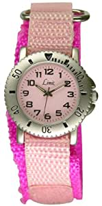 Limit Children Pink Dial Pink Canves Quick Release Velcro Strap Watch 6613