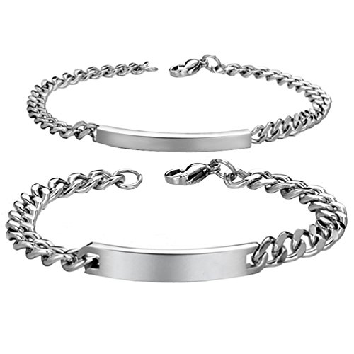 Custom Engraving Stainless Steel His and Hers Matching Set Couple Bracelet in One Pair (Custom Made Bracelets For Men compare prices)