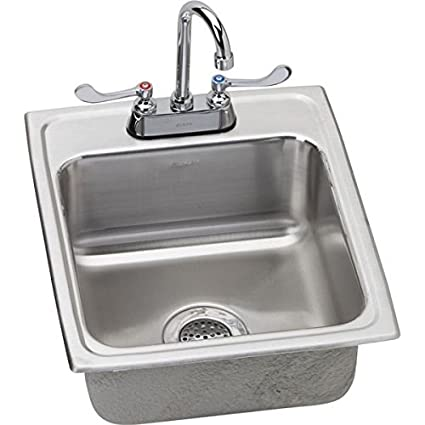 "Elkay LR1720C 18 Gauge Stainless Steel 17"" x 20"" x 7.625"" Single Bowl Top Mount Kitchen Sink Kit"