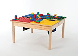 "LEGO Compatible Wood Table-32""X32""-MADE IN THE USA-PREASSEMBLED-Solid Legs and Side Frames-BUILT TO LAST!! from Playcenter Authority"