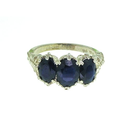 Sterling Silver Ladies 3 Stone Blue Sapphire Ring - Size W - Finger Sizes L to Z Available