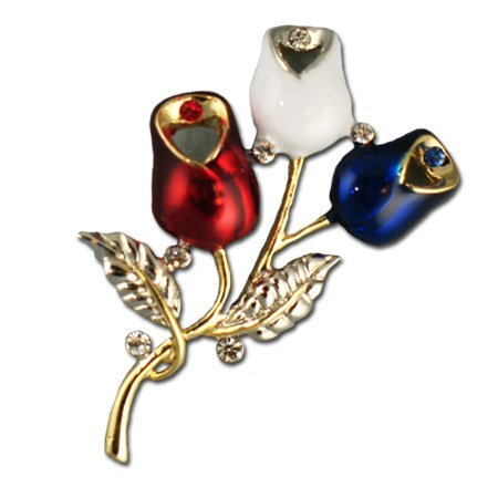 Patriotic Rosebud Brooch/Pin