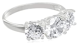 Sterling Silver Three-Stone Simulated Diamond Ring (3.83 cttw), Size 7
