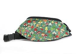 Chira Designs Green Mushroom fabric Fanny Pack - Waist pack
