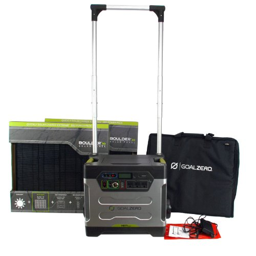 Goal Zero Yeti 1250 Solar Generator Kit Dual 30W Boulder Panels Roll Cart w/Case