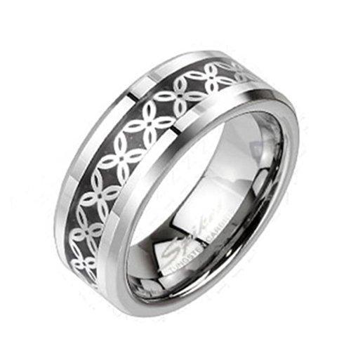 """Coolbodyart Unisex Tungsten Ring argento con """"Flower Carbon decorativa"""" disponibile anello misure 60 (19) - 69 (22), Tungsteno, 30, cod. CBAR-TU-206-13"""