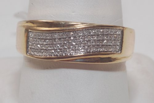Diamond and Yellow Gold Men's Wedding Band Brand New