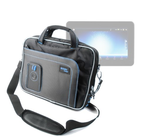 "DURAGADGET Black & Blue Shoulder Bag With Accessory Storage For Polaroid MIDC497, Samsung Galaxy tab 3. 10"", Samsung Galaxy Note 10.1"", Polaroid 9.7"" Tablet Diamond, Polaroid 9"" Tablet Diamond, Haier Pad Maxi 10.1"" at Electronic-Readers.com"