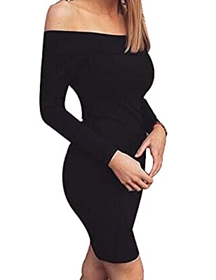 Allegrace Women Sexy Long Sleeve Off Shoulder Bodycon Bandage Party Club Dresses