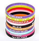 Justin Bieber Belieber Bracelet Silicone Wristband Set of 10 Pcs Amazon.com
