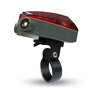 Wci Quality Bicycle Led Safety Light For Night Riding - 2 Laser Beams Form Virtual Lanes - Mounting Tools Included